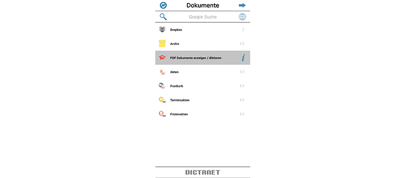 pdf-Dokumentenimport in der DictaNet App